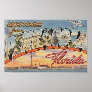 Pensacola, Florida - Large Letter Scenes Poster