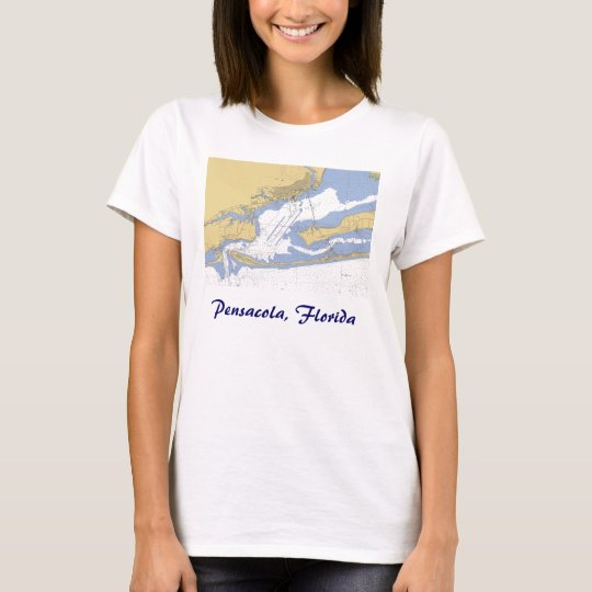 Pensacola, Florida Nautical harbor chart T-shirt