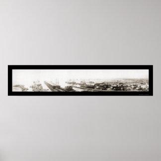 Pensacola, foto 1909 del puerto de FL Poster