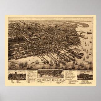 Pensacola, mapa panorámico de FL - 1885 Impresiones