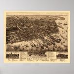 Pensacola, mapa panorámico de FL - 1885 Póster