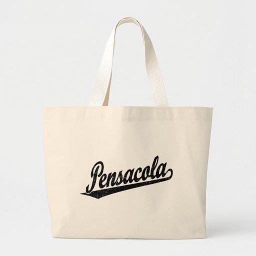 Pensacola script logo in black bags