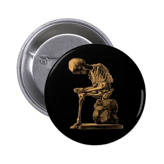 Pensador adaptable del esqueleto del vintage pin redondo de 2 pulgadas