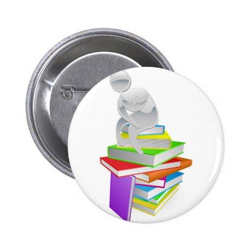 Pensador de pensamiento en los libros pin