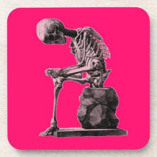 Pensador del esqueleto del vintage posavaso