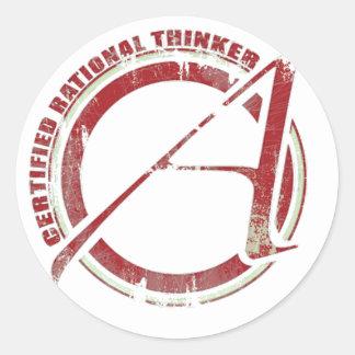 Pensador racional certificado pegatina redonda