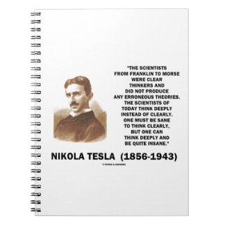 Pensadores claros de Nikola Tesla sanos pensar cla Libro De Apuntes Con Espiral