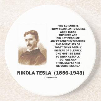 Pensadores claros de Nikola Tesla sanos pensar cla Posavasos Cerveza