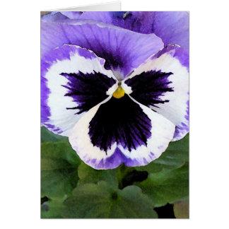 Pensamiento azul blanco y púrpura felicitacion