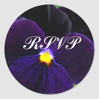 Pensamiento azul púrpura aterciopelado 6 etiqueta redonda