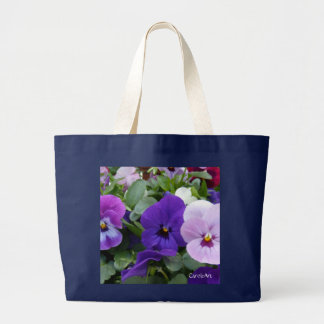Pensamiento azul púrpura de la lavanda 5 bolsa tela grande