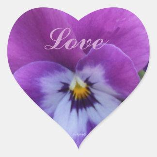 pensamiento azul púrpura de la lavanda 5a pegatina en forma de corazón