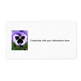 Pensamiento blanco y púrpura azul etiquetas de envío