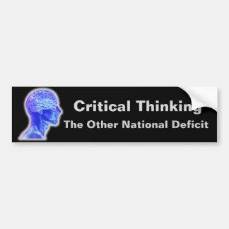 Pensamiento crítico pegatina para auto