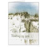 Pensamiento de encargo de la cerca de las dunas de tarjetas