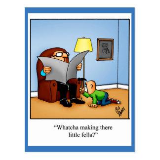 Pensamiento divertido en usted postal del humor