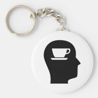 Pensamiento en el café llaveros