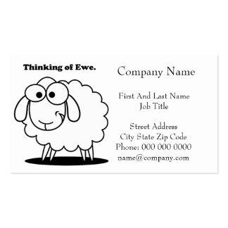 Pensamiento en el dibujo animado lindo de las ovej tarjetas de visita
