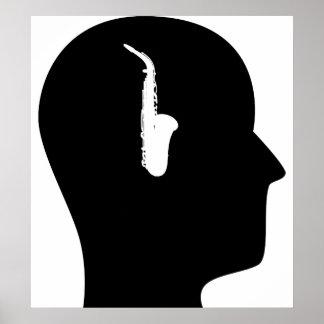 Pensamiento en el saxofón póster