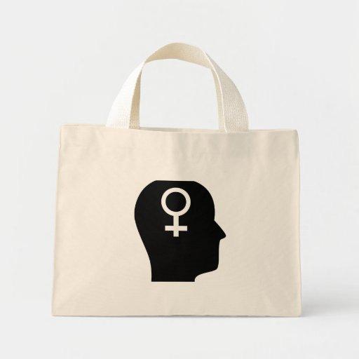 Pensamiento en feminismo bolsa tela pequeña