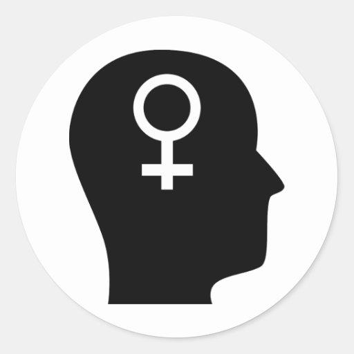 Pensamiento en feminismo pegatina redonda