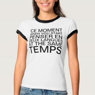 Pensamiento en francés e inglés remera