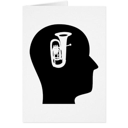 Pensamiento en la tuba tarjeta de felicitación