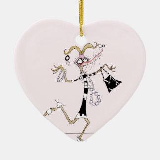 ¡pensamiento en mí! adorno navideño de cerámica en forma de corazón
