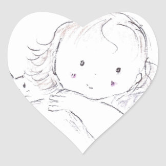 Pensamiento en usted (ascendentes cercanos) pegatina en forma de corazón