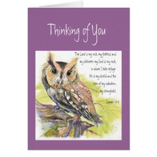 Pensamiento en usted búho inspirado del 18:2 del s tarjeta de felicitación