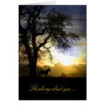 Pensamiento en usted caballo en tarjeta de la