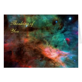 Pensamiento en usted - centro de la nebulosa del tarjeta de felicitación