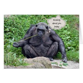 Pensamiento en usted chimpancé tarjeta de felicitación