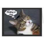 Pensamiento en usted con la foto de un gato lindo tarjeton