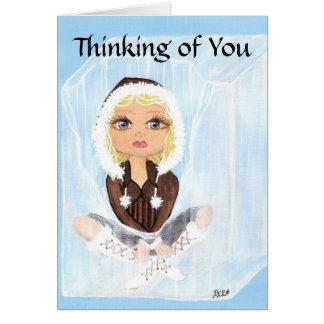 Pensamiento en usted esquimal en el hielo Quantum Tarjeta De Felicitación