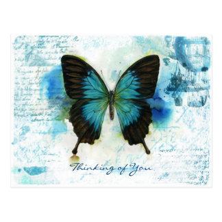 Pensamiento en usted estilo azul del Victorian de Postal