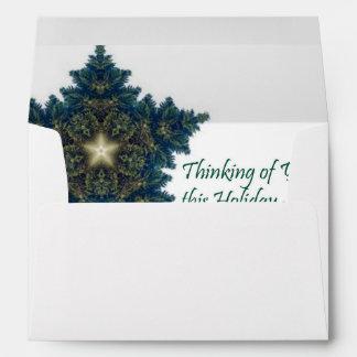 Pensamiento en usted estrella del navidad del sobre