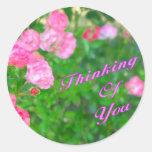 Pensamiento en usted flores del rosa pegatina redonda