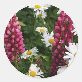 Pensamiento en usted flores florales etiqueta redonda