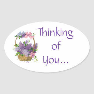 Pensamiento en usted flores púrpuras de las lilas pegatina ovalada