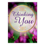 Pensamiento en usted flores rosadas púrpuras del tarjeta de felicitación