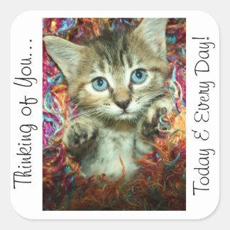 Pensamiento en usted gatito del pegatina