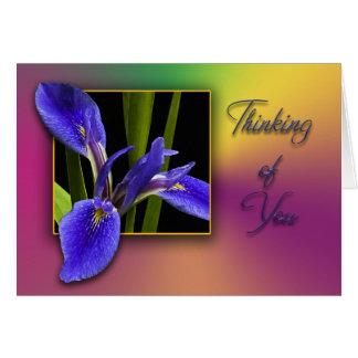 Pensamiento en usted iris azul tarjetas