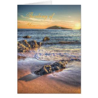 Pensamiento en usted - isla del municipio escocés tarjeta de felicitación