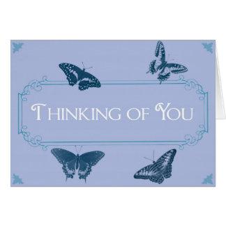 Pensamiento en usted - mariposas tarjeta de felicitación