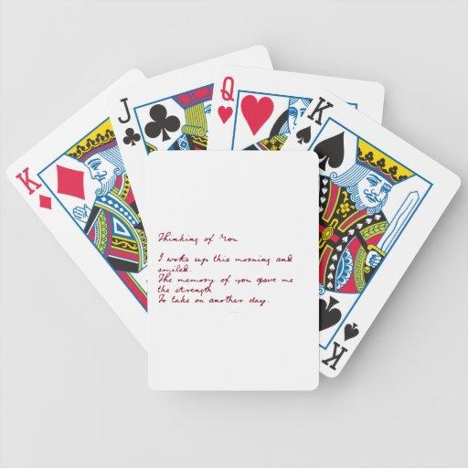 Pensamiento en usted naipes del poema cartas de juego