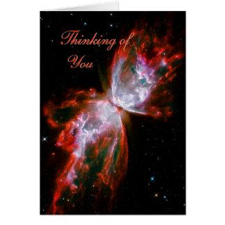 Pensamiento en usted - nebulosa de la mariposa en tarjeta de felicitación