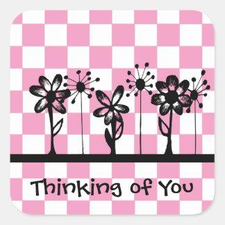 Pensamiento en usted pegatina cuadrada