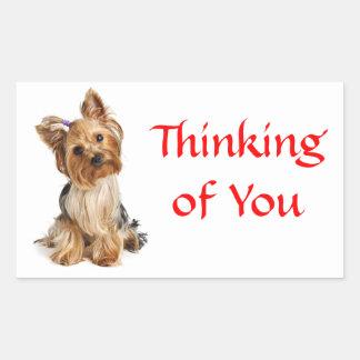 Pensamiento en usted pegatinas del perro de rectangular altavoces