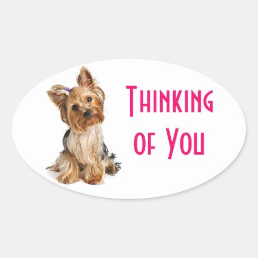 Pensamiento en usted pegatinas del perro de pegatina ovalada